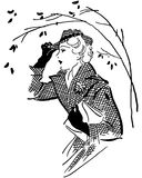 Fashionable Gal. Retro Clip Art Illustration - Lady in stylish outfit hurries to her appointment on a windy autumn day Royalty Free Stock Image