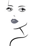 Fashionable girl abstract portrait. Beautiful fashionable young girl abstract portrait, laconic sketching vector illustration Stock Images