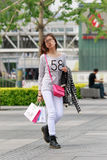 Fashionable girl, Beijing downtown, China Royalty Free Stock Images