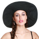 Fashionable girl in black bonnet Stock Photo