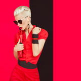 Fashionable girl in black red style royalty free stock photos