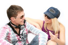 Fashionable girl and the boy Royalty Free Stock Photo