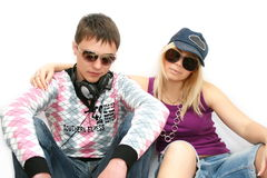 Fashionable girl and the boy Stock Images