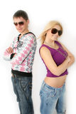 Fashionable girl and the boy Royalty Free Stock Photography
