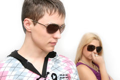 Fashionable girl and the boy Stock Photography