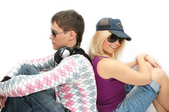 Fashionable girl and the boy Royalty Free Stock Photos