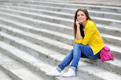 Fashionable girl in bright clothes outdoor portrait Stock Photos