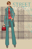 Fashionable girl in coat.Fashion Illustration Stock Photos