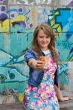 Fashionable girl with coffee Stock Photo