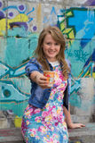 Fashionable girl with coffee Royalty Free Stock Photos