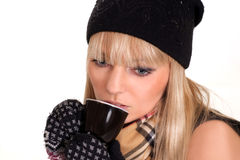Fashionable girl with cup Stock Photos