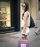 Fashionable girl doing shopping Stock Photography