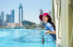 Fashionable girl enjoying view at Dubai mall. Fashionable girl enjoying the view at Dubai mall Stock Photos