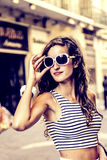 Fashionable girl in fashionable clothes Stock Image