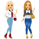 Fashionable Girl Friends Royalty Free Stock Photo