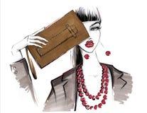 Fashionable girl with a handbag. Fashion illustration Royalty Free Stock Image