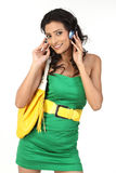 Fashionable girl with headphone Stock Photography