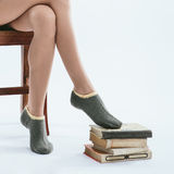 Fashionable Girl In Knitted Socks Royalty Free Stock Photo