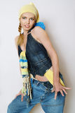 The fashionable girl in jeans clothes royalty free stock photography