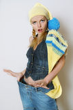 The fashionable girl in jeans clothes Stock Images