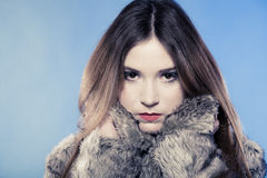 Fashionable girl with long hair. Young woman in fur coat on blue. Stock Photos