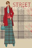Fashionable girl in long skirt and coat.Fashion Illustration Royalty Free Stock Image