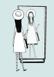 Fashionable girl looks in mirror. Woman with stylish, retro accessories hat, striped tights, handbag. Hand drawn vector Royalty Free Stock Photo
