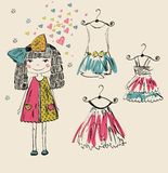 Fashionable girl. Modern fashionable little girl. This is file of EPS8 format Stock Photo