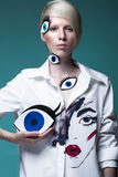 Fashionable girl: natural make-up, clothes with picture in style of pop art. Creative image. Beauty face. Stock Photography