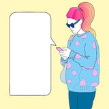 Fashionable girl with a phone space for text Stock Photo