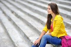 Fashionable girl profile portrait - copyspace Stock Image