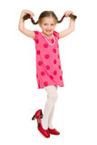 Fashionable girl in  red dress Royalty Free Stock Photo
