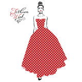 Fashionable girl in red dress. Vector beautiful fashionable girl in a long red dress with pattern polka dots and inscription Fashion Week Stock Image