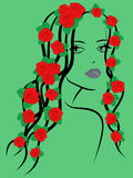Fashionable girl with roses on hair Royalty Free Stock Photos