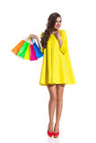 Fashionable Girl With Shopping Bags Royalty Free Stock Photos