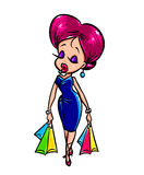 Fashionable girl  shopping  cartoon illustration Royalty Free Stock Image