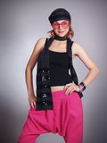 Fashionable girl shows youth clothes Stock Photo