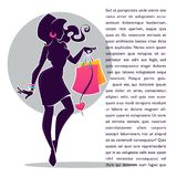 Fashionable girl silhouette with shopping bag, for your sale com Royalty Free Stock Photo