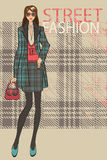 Fashionable girl in skirt and coat.Fashion Illustration Royalty Free Stock Image