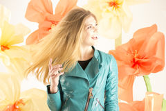 Fashionable girl, spring girl Royalty Free Stock Images