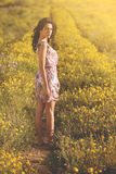 Fashionable girl in a trail among daisie Stock Image