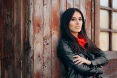 Cool Young Woman Outdoor Portrait Wearing Leather Jacket royalty free stock photo