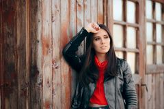 Cool Young Woman Outdoor Portrait Wearing Leather Jacket stock photo