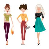 Fashionable girl. Vector illustration Royalty Free Stock Images
