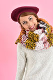Fashionable girl wearing barret and snood Royalty Free Stock Photography