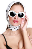 Fashionable girl in a white scarf Royalty Free Stock Photo