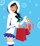 Fashionable girl in winter clothes with christmas gifts, woman beauty face. Vector illustration of fashionable girl in winter clothes with christmas gifts Stock Photos