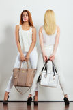 Fashionable girls with bags handbags. Royalty Free Stock Images