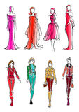 Fashionable girls colorful sketch silhouettes. Colorful sketched silhouettes of modern fashionable girls, wearing bright everyday clothes and formal evening Stock Images