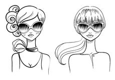 Fashionable girls. Drawn by hand Royalty Free Stock Photos